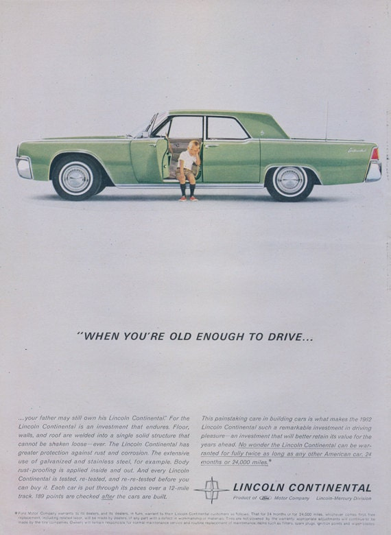 1962 ford lincoln continental car ad little boy green for Lincoln motor company corporate headquarters
