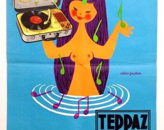 Illustrator Alain Gauthier Original French Advertising Vintage Poster Teppaz Record Player Music Mid Century Illustration