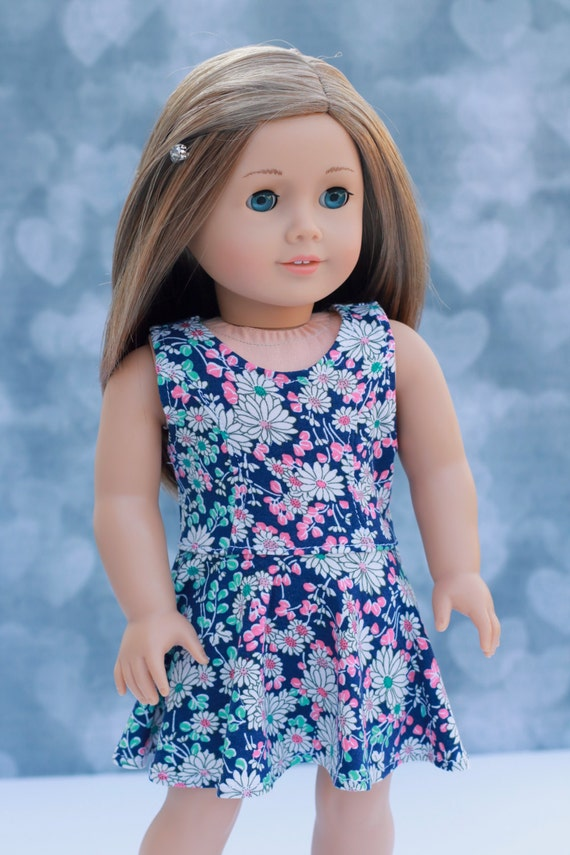 American Made Doll Clothes   Blue Daisy Floral Sleeveless Princess Cut SKATER DRESS for 18 Inch