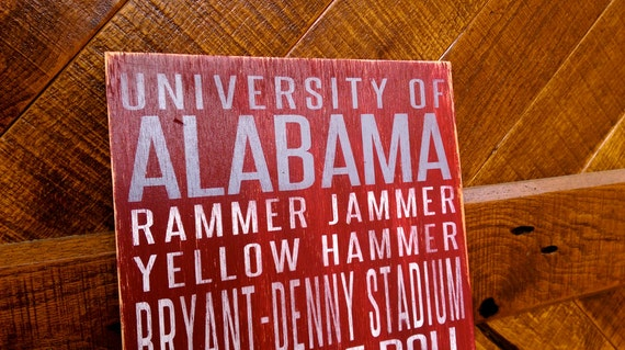 University of Alabama Distressed Wood Sign--Great Father's Day Gift!