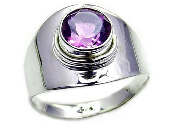 February Birthstone Amethyst Sterling Silver Ring Size 6.75, 8, 8.75 Jewelry The Silver Plaza AB270 , AB267, AB264