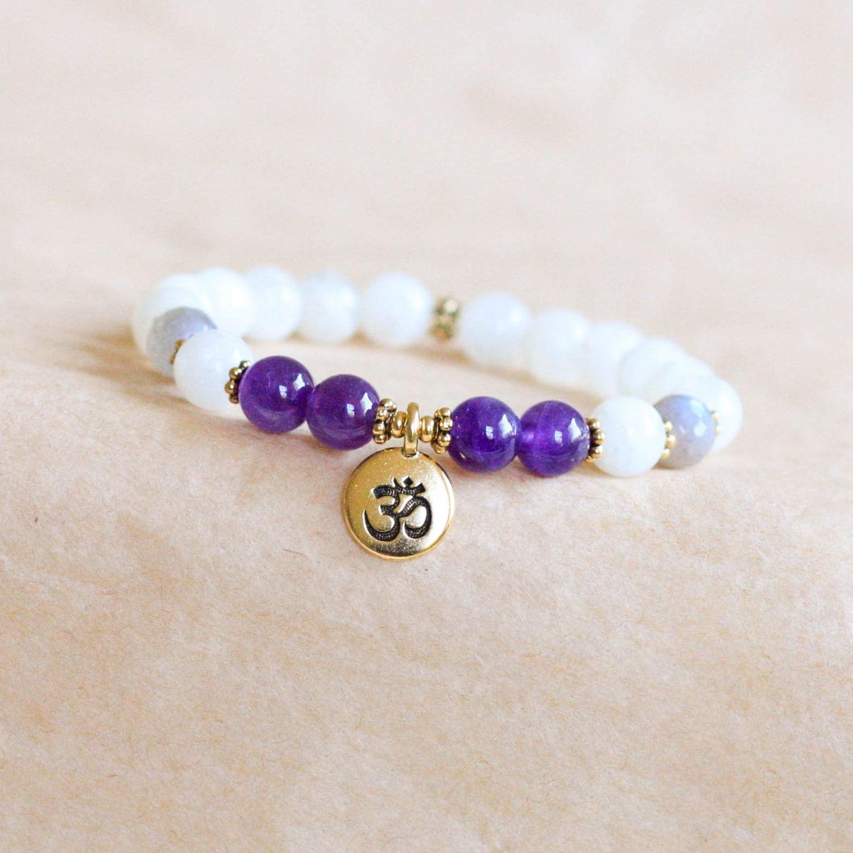 moonstone mala bracelet om bracelet wrist mala