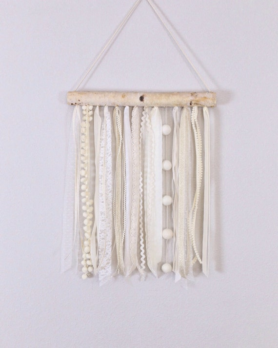 Wall Decorations With Ribbon : Wall hanging ribbon and birch lace baby decor