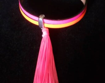 Neon leather bracelet with tassel and magnetic clasp