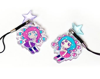 """Eira 1.5"""" Acrylic Charm with Phone Strap (Double-Sided)"""
