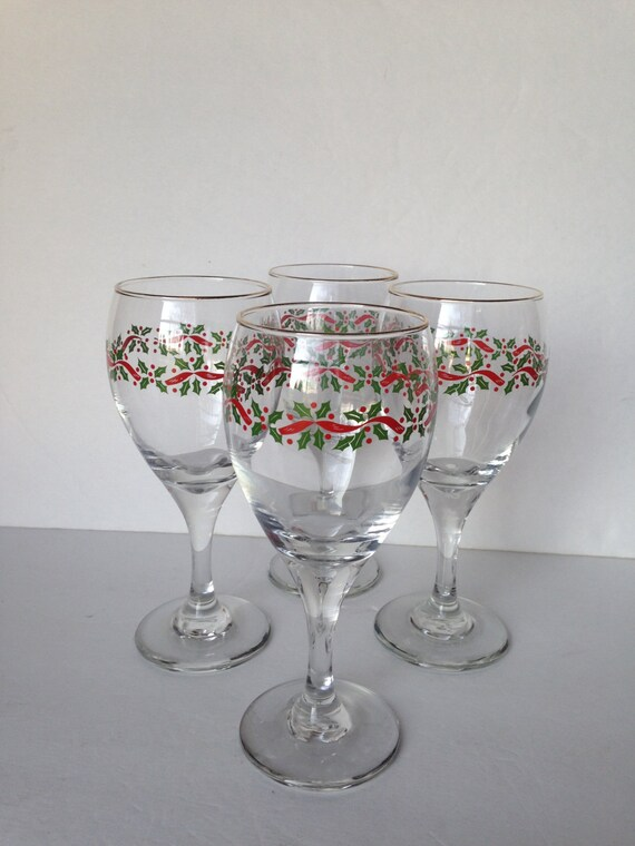 Christmas wine glasses water libbey