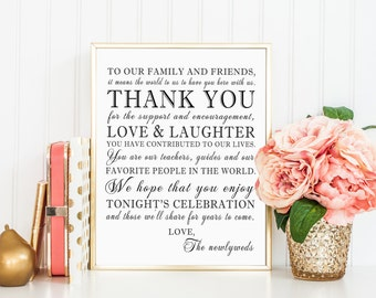 PRINTABLE - Thank You Family Friends Wedding Reception Sign - 8 x 10 or 5 x 7 DIY Instant Download Digital File Print