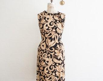 vintage 1950s botanical print wiggle dress