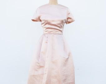 vintage 1950s metallic baby pink party dress