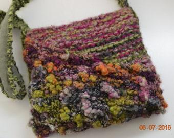 Hand Knit bag green pink berry cross body