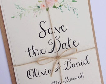 Rustic Floral Save the date Wedding Invitation.