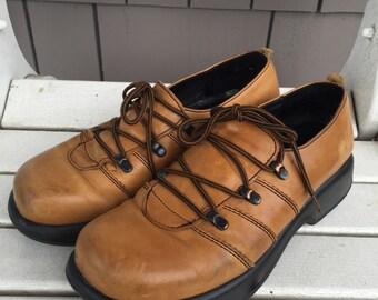 Chunky Caramel Leather Dansko Oxford Shoes Ladies Euro Size 41 US Size 10