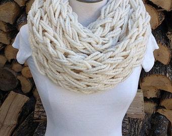 Infinity knit scarf, loop scarf, neckwarmer, winter wear, cream