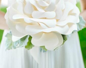 Custom Giant Paper Rose, Large Paper Flower Bouquet, Big Paper Bouquet, Single Flower Bouquet, Bridal Bouquet, Wedding Bouquet - 12 inch