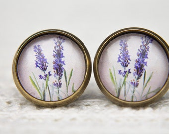 Lavender Earrings, Purple Flower, Purple Earrings, Flower Earrings, Studs, Stud Earrings, Post Earrings, Small Studs, Glass Dome Earrings
