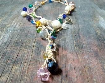 Beaded Lariat Necklace, long wrap necklace, crochet beaded necklace, colorful Y Necklace, adjustable necklace, bohemian wrap bracelet,