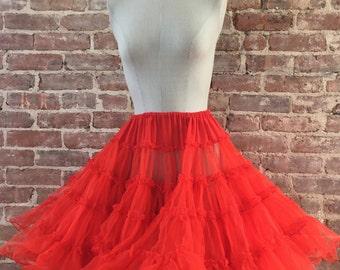 Full Red Crinoline Skirt - Crinoline Slip - Pettiskirt - Petticoat -  Best Selling Vintage - Top Seller