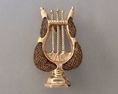 Antique 10K Rose GOLD Victorian LYRE Brooch Harp HAIR Mourning Jewelry Engravings c.1870s