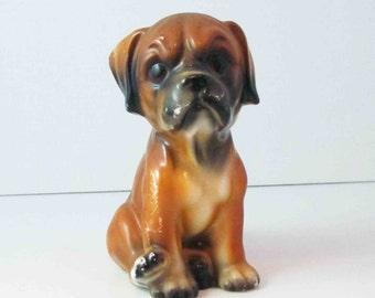 Boxer Puppy Dog Figurine Animal Vintage Ceramic Unsigned Puppy Figurine