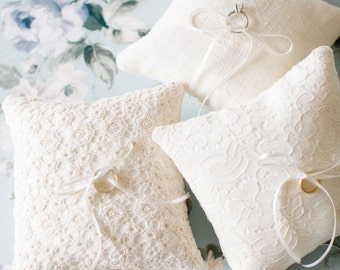 Ring Bearer Pillow, Ivory Ring Pillow, Wedding Pillow, Ring Bearer, Lace Ring Pillow, Rustic Wedding, Ring Cushion, Ring Box