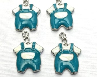 4 baby clothe charms blue enamel and silver tone 25mm #CH268