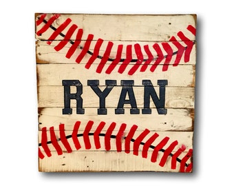 Baseball Room Sign- Sports Decor- Nursery Name Sign- Boys Room Decor- Baseball Art- Baseball Wall Decor