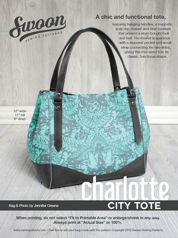 Swoon Patterns Charlotte City Tote Pdf Vintage Purse Tote