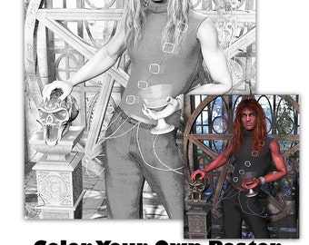 Lucifer Fantasy Greyscale Adult Coloring Poster and BONUS print
