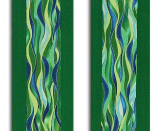 Clergy Stole, Green Clergy Stole, Ordinary Time Clergy Stole, Flowing Waters of Life Clergy Stole, Custom Embroidery on Lining, Priest Stole