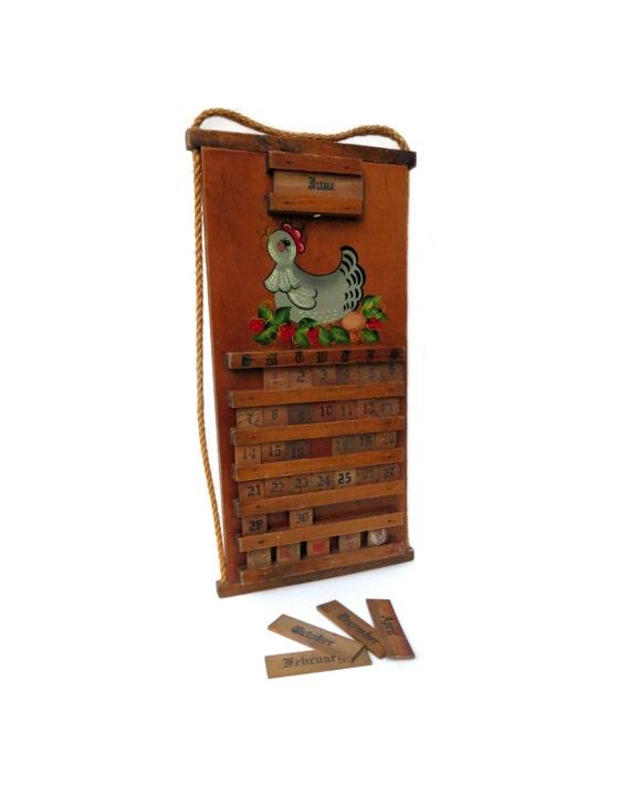 C1970 wooden perpetual wall calendar whimsical hand painted - Wooden perpetual wall calendar ...