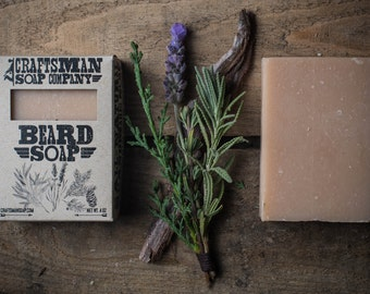 Beard Soap, All-Natural Handmade Bar Soap with Tea Tree, Cedar, Lavender & Spruce