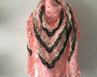 Handmade Crochet shawl pink, Cream and gray