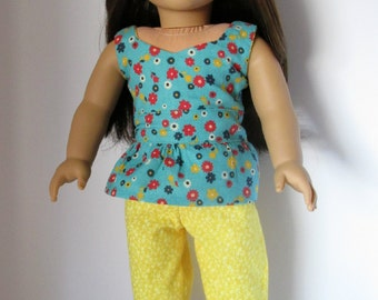 "18 Inch Doll Outfit, Teal Floral Peplum Top, Yellow Capri Pants, American made to fit 18"" girl dolls"