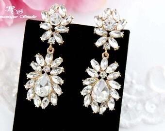 GOLD statement earrings bridal earrings crystal wedding earrings vintage style rhinestone chandelier earrings art deco bridal jewelry 1331G