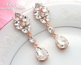 Gold Art Deco earrings Crystal wedding earrings Rhinestone bridal earrings chandelier earrings wedding accessories - 1354G