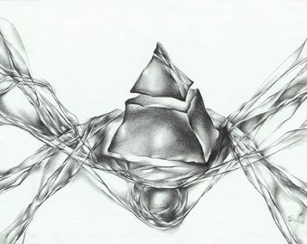 "Abstract pencil drawing - original abstract drawing ""Pyramid"", paper"