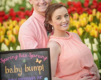 Custom Printable Spring Pregnancy Announcement // Pregnancy Reveal // Spring has Sprung // Baby Bump