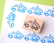 Kids gift idea, Dump track stamp,  Tipper truck tag, Wrapping paper, Baby boy invitations, Custom stamp, Kawaii stationery, Hobonichi craft