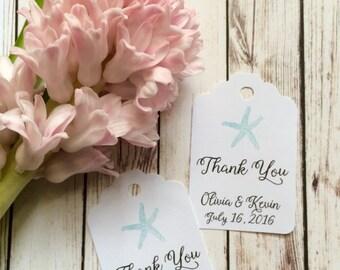 50 Personalized Starfish Favor Tags / wedding / bridal shower / gift tags / beach wedding