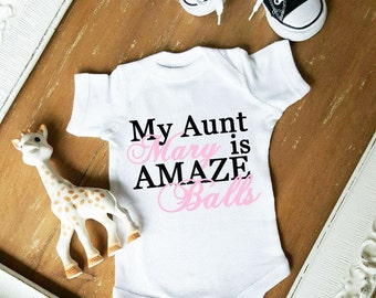 My Aunt is Amazeballs baby bodysuit CUSTOMIZE name and color by Simply Chic Baby
