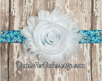 SALE White and Blue Shabby Chic Flower Headband, Blue and White Daisy Headband, Baby Headband, Toddler Hair Bow, Girls Headband, Elastic Bow