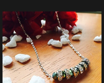 Crystal green chained necklace