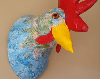 Faux Taxidermy Rooster//Paper Mache Animal Head// Paper Mache Sculpture// Animal Head Sculpture