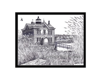Saugerties Lighthouse, Hudson River, Pen and Ink Print