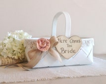 Flower girl basket with here comes the bride sign, ivory lace with burlap ribbon, blush pink flower