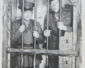 Vintage World War II Era 1940's US Marines Tiajuana Jail Real Photo Postcard - Free Shipping