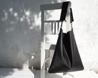 Leather Shoulder Bag/Large Leather Slouch Bag/Big Leather Hobo Bag/Black Hobo Bag