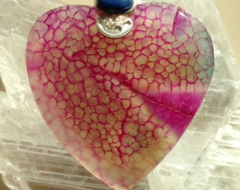 Agate Dragon Vein Heart Pendant With Lapis and Silver Bead Pendant/Necklace