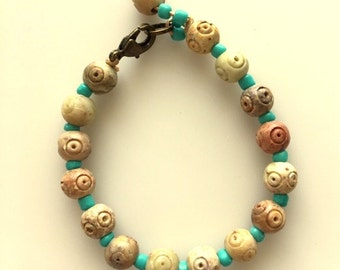 Carved Agate Bracelet - Natural Tan Colors With Turquoise Glass Beads