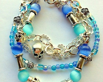 Grateful Dead Blue Multistrand  Skulls and Roses Bracelet - Unisex Skulls Bracelet